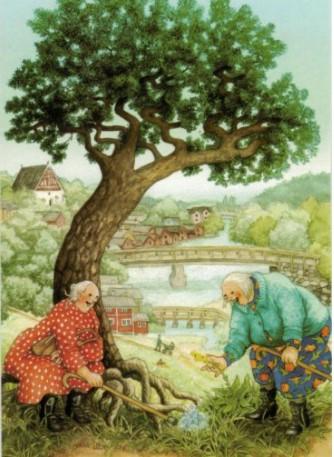 Mummot puun juurella