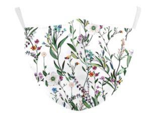 Kasvomaski, kukkakuosilla - valkoinen