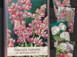 Vintage-kukkakortit peltirasiassa, 20 kpl, Sköna Ting