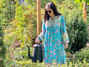 Boho-tyylinen mekko, turkoosi