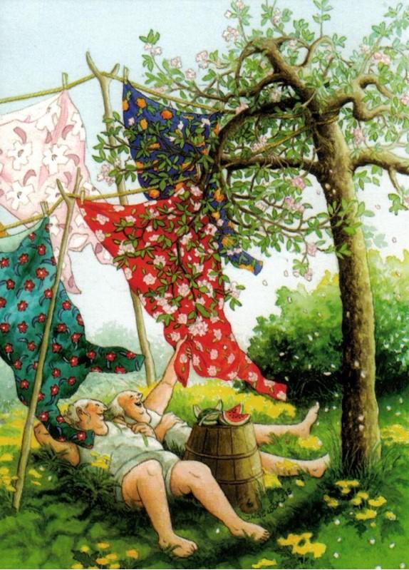 Postikortti numero 48, Mummot pyykillä - Inge Löök