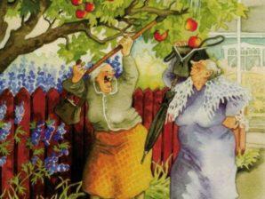 Postikortti numero 11, Mummot omenavarkaissa - Inge Löök