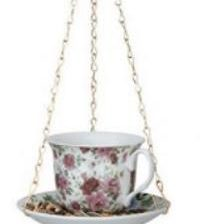 Lintujen ruokinta, teekuppi, pinkit ruusut - Esschert Design