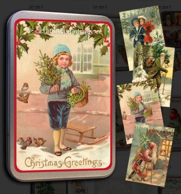 Joulukortit, Vintage-tyyliset, peltirasiassa, 20 kpl, Sköna Ting