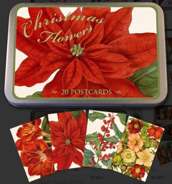 Joulukortit, Punainen joulu, peltirasiassa, 20 kpl, Sköna Ting