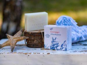 Greippishampoo, hoitava - Kuivalle päänahalle suunniteltu tuuheuttava palashampoo, joka hillitsee päänahan kutinaa. Luonnollinen, vegaaninen, luomu - Saaren Taika